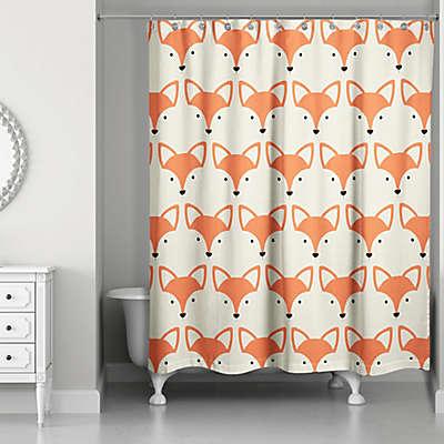 Designs Direct Fox Face Friend 74-Inch Shower Curtain in Orange