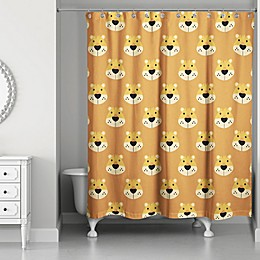 Designs Direct Lion Face Friend 74-Inch Shower Curtain in Brown