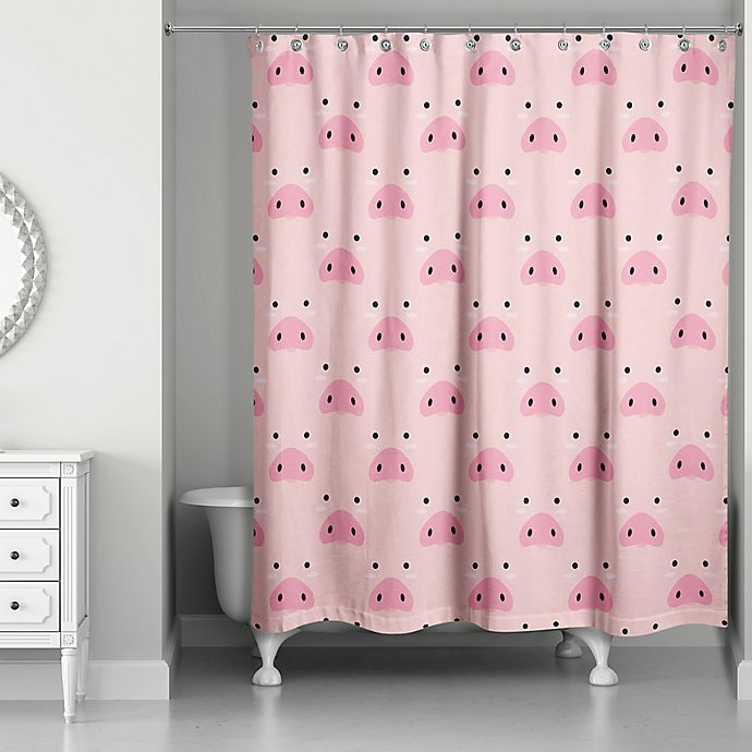Alternate image 1 for Designs Direct Pig Face Friend 74-Inch Shower Curtain in Pink