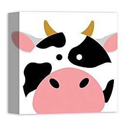 Designs Direct Cow Face Friend 12-Inch Square Canvas Wall Art