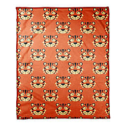 Designs Direct Tiger Face Friend Throw Blanket in Orange
