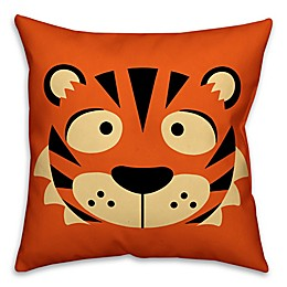 Designs Direct Tiger Face Friend 16-Inch Square Throw Pillow in Orange