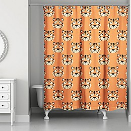 Designs Direct Tiger Face Friend 74-Inch Shower Curtain in Orange