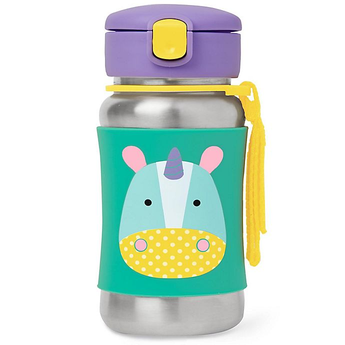 Alternate image 1 for SKIP*HOP® Zoo 12 oz. Unicorn Straw Bottle in Stainless Steel