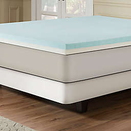 Combination Gel Memory Foam 3-Inch Mattress Topper in Blue/White
