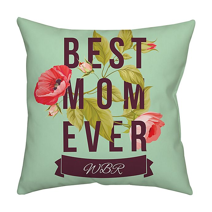 Alternate image 1 for Mother's Day Floral Monogram Square Throw Pillow