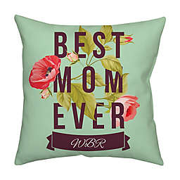 Mother's Day Floral Monogram Square Throw Pillow