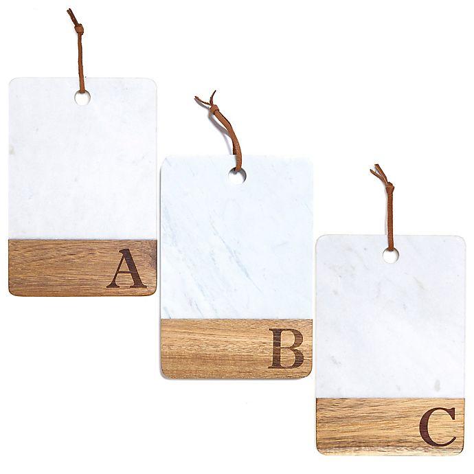 Alternate image 1 for Artisanal Kitchen Supply® Monogram Marble and Acacia Wood Paddle Board