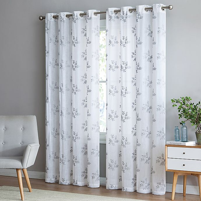 Alternate image 1 for Be Artistic Breeze Leaf 95-Inch Grommet Top Window Curtain Panel in White/Grey
