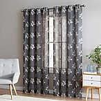 Be Artistic Breeze Leaf 84-Inch Grommet Top Window Curtain Panel in Mocha/Tan