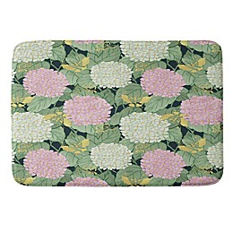 Deny Designs Belle13 Hydrangea Butterflies Memory Foam Bath Mat in Green