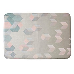 DENY Designs Exagonal Geometry 17-Inch x 24-Inch Memory Foam Bath Mat in Grey