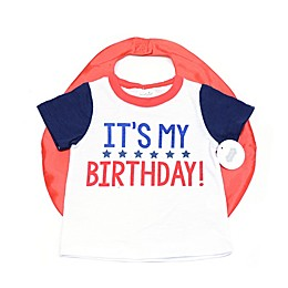Mud Pie® 2-Piece Birthday Shirt and Cape Set in White
