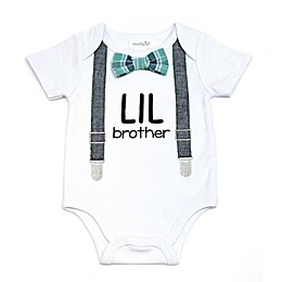 "Mud Pie® ""Lil Bro"" Bodysuit with Suspenders and Bowtie in White"