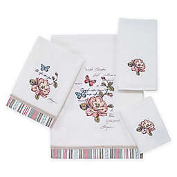Avanti Butterfly Garden Hand Towel in White