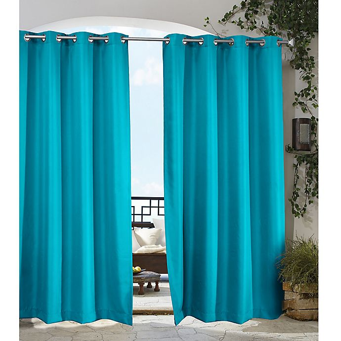Alternate image 1 for Gazebo 108-Inch Grommet Indoor/Outdoor Window Curtain Panel in Blue
