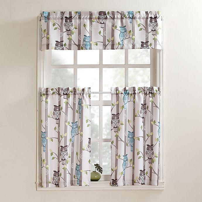 Alternate image 1 for No. 918 Hoot Rod Pocket Kitchen Window Curtain Tier Pair and Valance