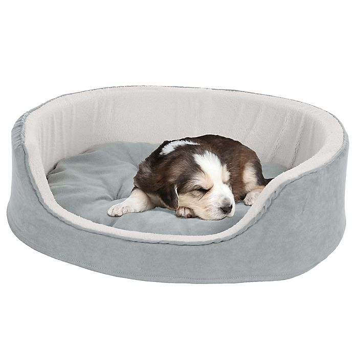 Alternate image 1 for Petmaker Microsuede Cuddle Round Pet Bed in Grey