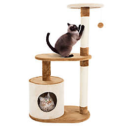 Petmaker 3-Tier Cat Tree Condo with Scratching Pole in Tan