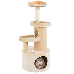 Petmaker 4-Tier Cat Tree Condo with Tunnel in Tan