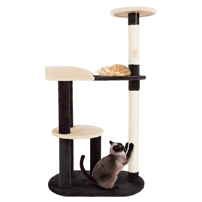 Alternate image 1 for Petmaker 3-Tier Cat Tree with 2 Scratching Posts in Tan