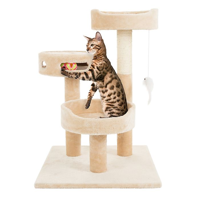 Alternate image 1 for Petmaker 3-Tier Cat Tree with Hanging Toys and Scratching Post in Tan