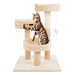 Petmaker 3-Tier Cat Tree with Hanging Toys and Scratching Post in Tan