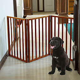 PETMAKER Freestanding Wooden Pet Gate in Mahogany