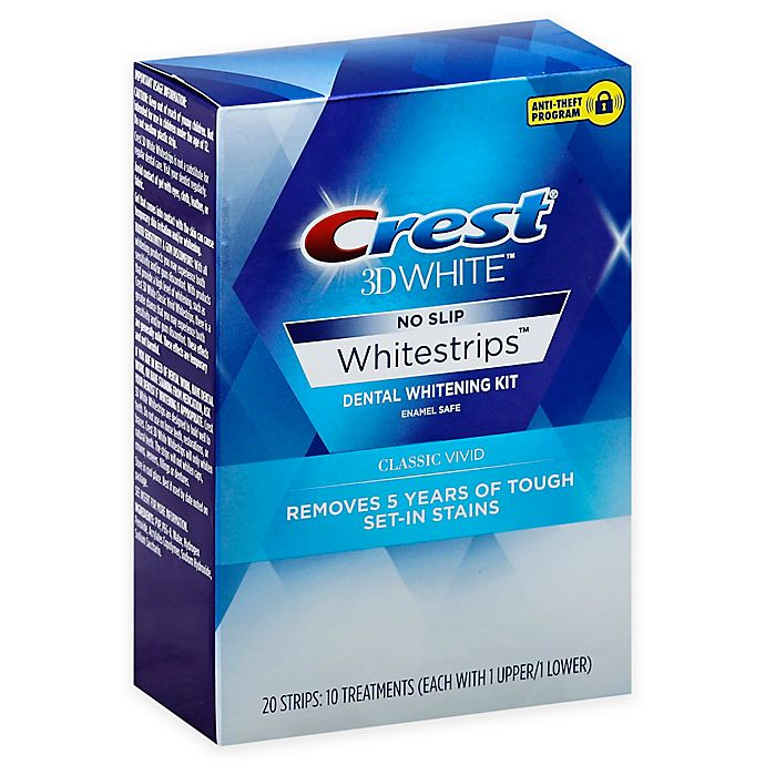 Alternate image 1 for Crest® 3D White™ 10-Count No Slip Whitestrips™ Classic Vivid Dental Whitening Kit