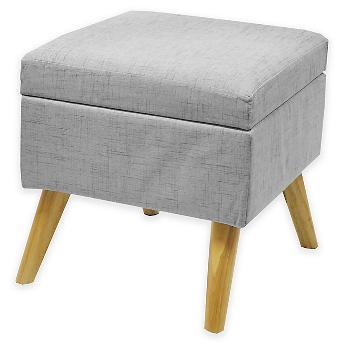 Prime Linen Storage Ottoman With Wood Legs Bed Bath Beyond Machost Co Dining Chair Design Ideas Machostcouk