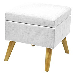 Linen Storage Ottoman with Wood Legs