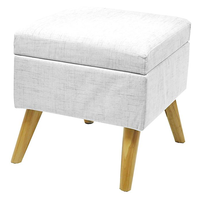 Stupendous Linen Storage Ottoman With Wood Legs Dailytribune Chair Design For Home Dailytribuneorg