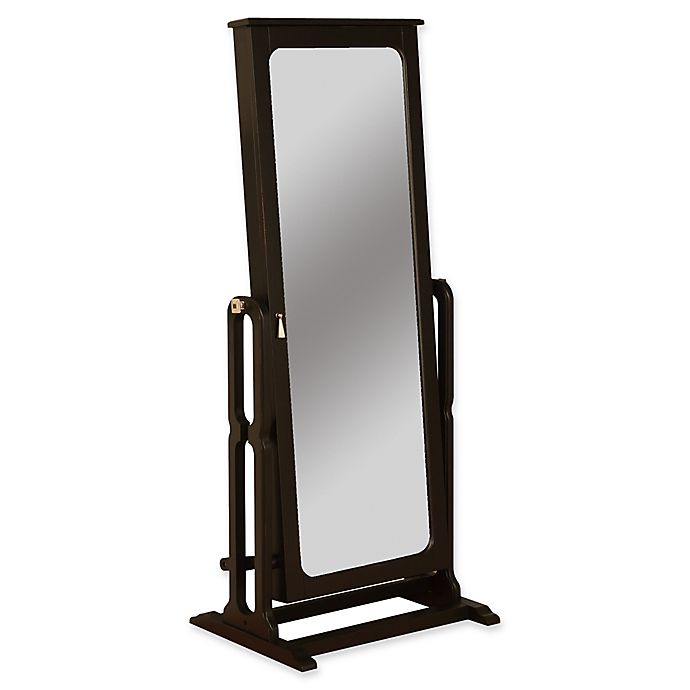 Cheval Mirror Antique Black Finish Jewelry Armoire Bed