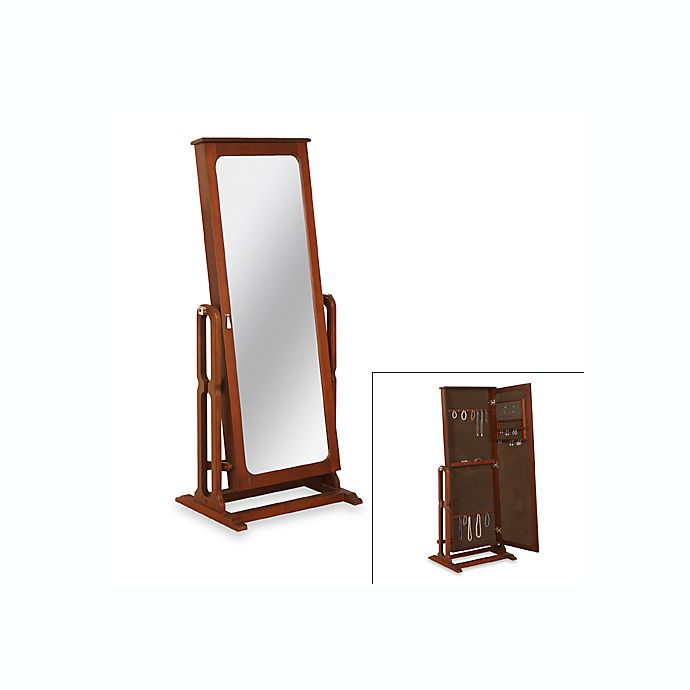 Cheval Mirror Marquis Cherry Finish Jewelry Armoire Bed