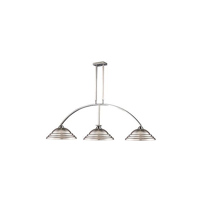 Alternate image 1 for Macey 3-Light Island/Billiard Light in Brushed Nickel with Stepped Brushed Nickel Shades