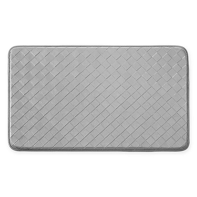 Alternate image 1 for Chef Gear Diamond Weave Faux Leather 18-Inch x 30-Inch Comfort Kitchen Mat in Grey