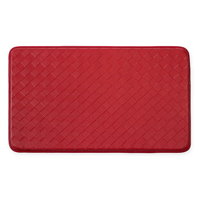 Alternate image 1 for Chef Gear Diamond Weave Faux Leather 18-Inch x 30-Inch Comfort Kitchen Mat in Red