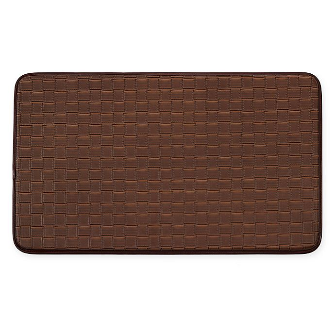 Alternate image 1 for Chef Gear Basket Weave Faux Leather 18-Inch x 30-Inch Comfort Kitchen Mat in Mocha