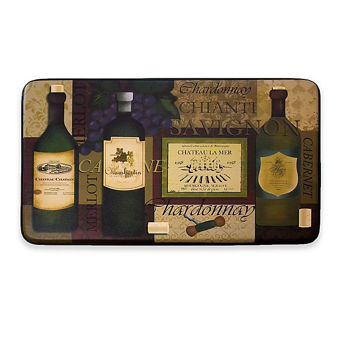 Alternate image 1 for Chef Gear Favorite Wine Faux Leather 18-Inch x 30-Inch Comfort Kitchen Mat in Purple