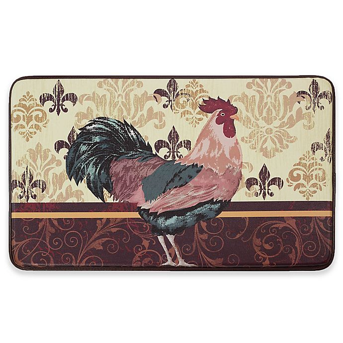 Alternate image 1 for Chef Gear Rooster Faux Leather 18-Inch x 30-Inch Comfort Kitchen Mat in Red