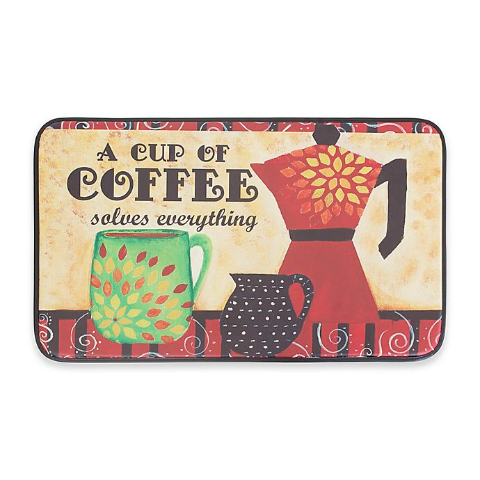 Alternate image 1 for Chef Gear Coffee Mama Faux Leather 18-Inch x 30-Inch Comfort Kitchen Mat in Red
