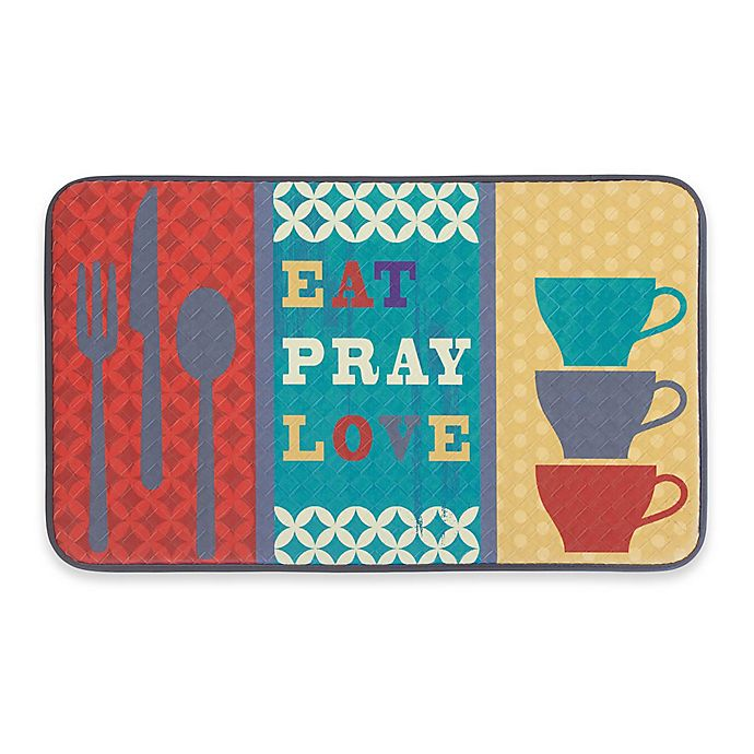 Alternate image 1 for Chef Gear Eat Pray Love Faux Leather 18-Inch x 30-Inch Comfort Kitchen Mat in Red