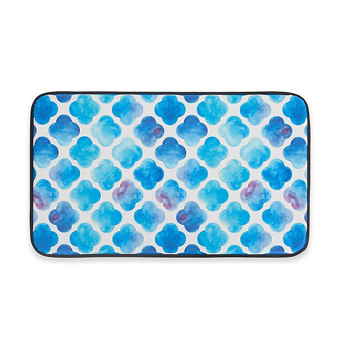 Alternate image 1 for Chef Gear Watercolor Clover Faux Leather 18-Inch x 30-Inch Comfort Kitchen Mat in Blue