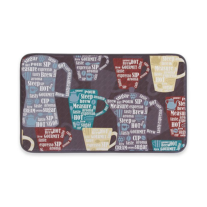 Alternate image 1 for Chef Gear Fun Coffee Faux Leather 20-Inch x 32-Inch Comfort Kitchen Mat in Red