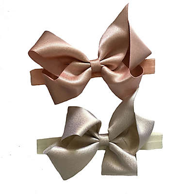 Curls & Pearls 2-Piece Large Shimmer Bow Headband Set in Rose Gold and Gold