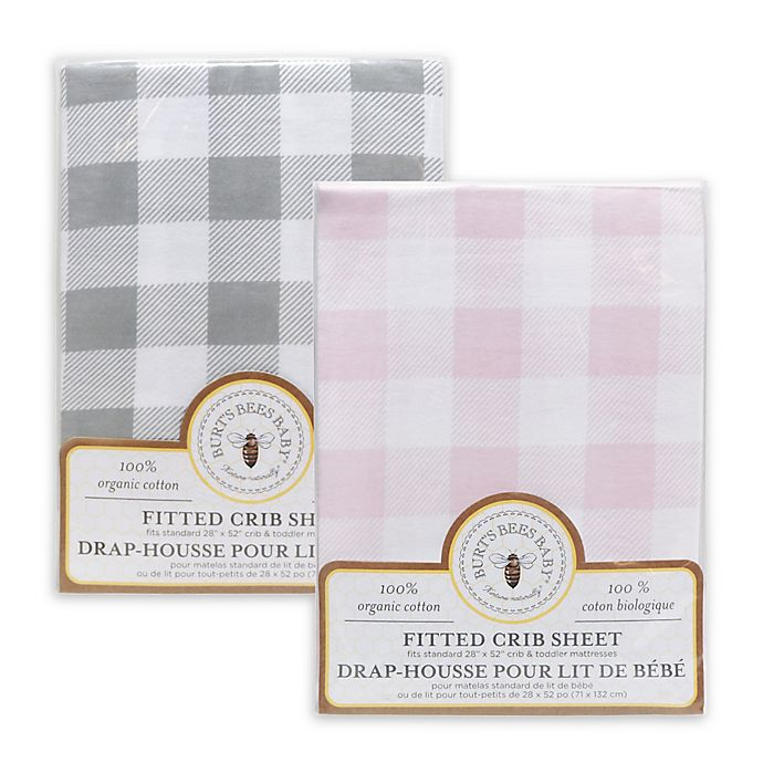 Alternate image 1 for Burt's Bees Baby® Buffalo Check Organic Cotton Fitted Crib Sheet