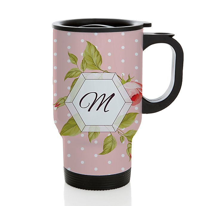 Alternate image 1 for Floral Polka Dot 14 oz. Coffee Mug in Pink/White