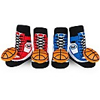 Waddle Size 0-12M 2-Pack Basketball Rattle Baby Socks in Red/Blue