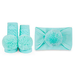 Waddle Size 0-12M 2-Piece Baby Bling Headband and Rattle Sock Gift Set in Aqua
