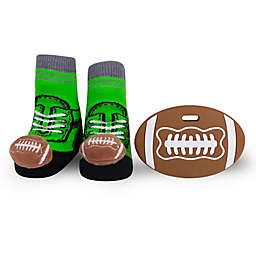Waddle Size 0-12M Football Teether and Rattle Baby Socks Gift Set